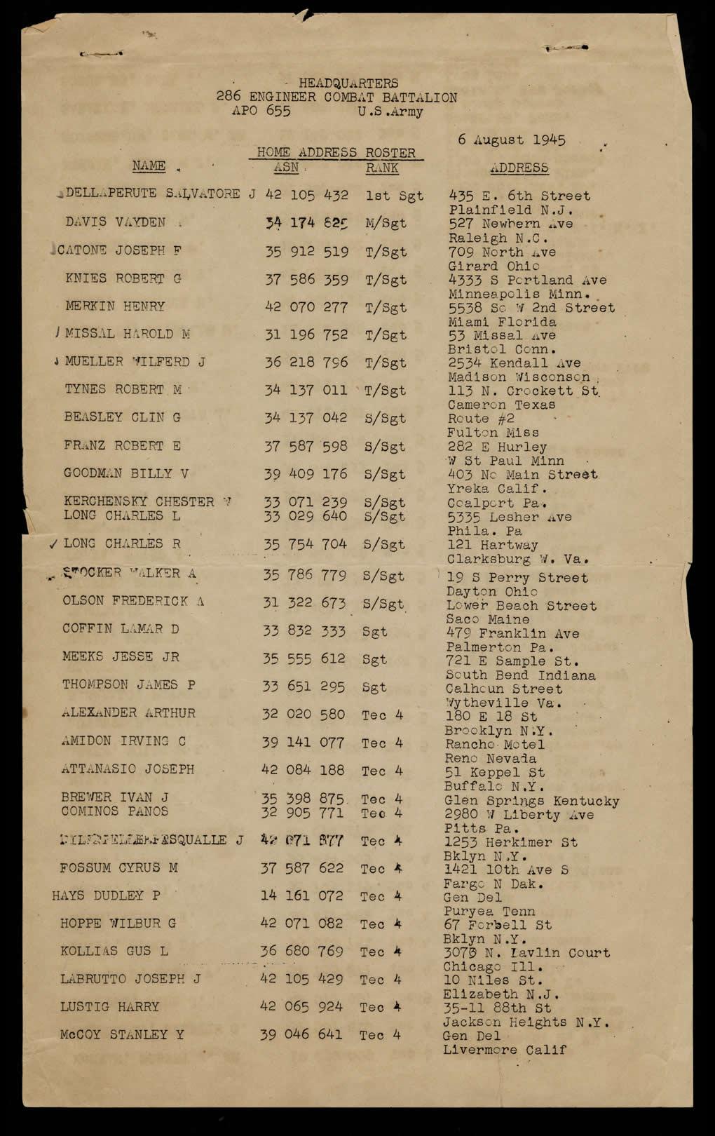 Home Address Roster 1